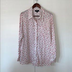 Lane Bryant Strawberry Print Button Down 18/20 2X